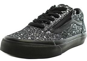 Vans Old Skool Zip Youth Round Toe Canvas Black Sneakers.