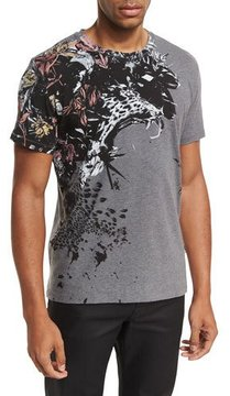 Just Cavalli Floral Feather Leopard Cotton Crewneck T-Shirt