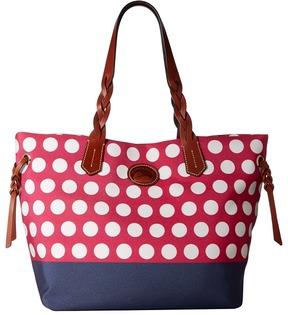 Dooney & Bourke Saybrook Shopper Handbags - HOT PINK/NAVY W/ TAN TRIM - STYLE
