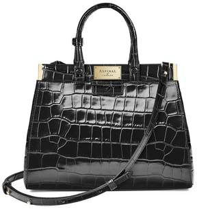 Aspinal of London Small Florence Snap Bag In Deep Shine Black Croc