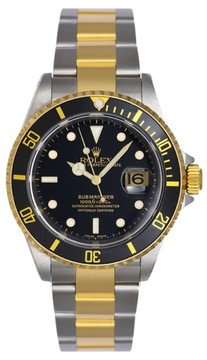 Rolex Submariner Black 16613 Two Tone Gold Mens Watch