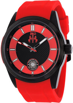 Jivago Rush Mens Black Dial Red Strap Watch