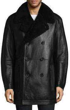 Andrew Marc Frontier Shearling Double Breasted Jacket
