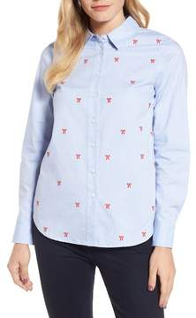 Draper James Embroidered Bow Button Down Shirt