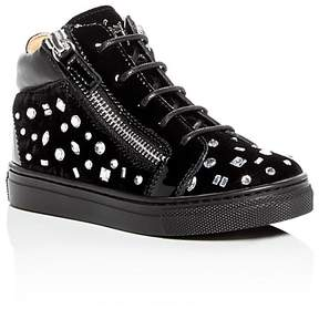 Giuseppe Zanotti Girls' Veronica Embellished Velvet High Top Sneakers - Toddler, Little Kid