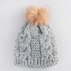 World Market Gray Cable Knit Pom Hat