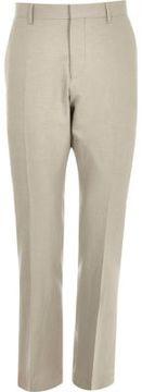 River Island Mens Beige linen-blend slim suit pants
