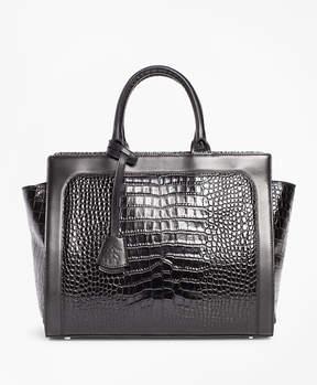 Brooks Brothers Crocodile-Embossed Leather Handbag