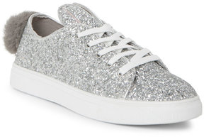 Wild Diva Silver Cala Glitter Bunny Low Top Sneakers