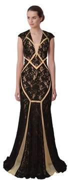 Alberto Makali Lace Illusion Cutout Cap Sleeve Gown.