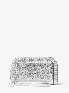 MICHAEL Michael Kors Jet Set Ruffled Metallic Leather Smartphone Wristlet