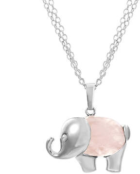 Bliss Rose Quartz & Silvertone Elephant Pendant Necklace