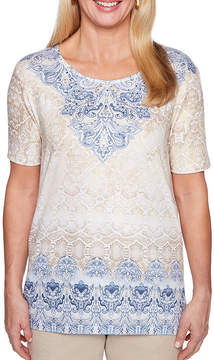 Alfred Dunner Blues Traveler Short Sleeve Round Neck Scroll T-Shirt-Womens