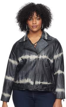 Rock & Republic Plus Size Tie-Dye Faux-Leather Moto Jacket