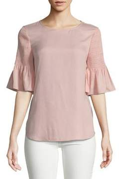 Isaac Mizrahi IMNYC Smocked Short Sleeve Top
