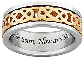 Celtic Two-Tone Knot Spinning Personalized Band