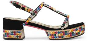 Gucci Suede platform sandal with crystals