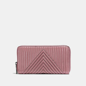 COACH Coach Accordion Zip Wallet With Quilting And Rivets - BLACK COPPER/DUSTY ROSE - STYLE