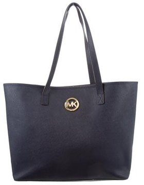 MICHAEL Michael Kors Logo-Embellished Leather Tote - BLUE - STYLE