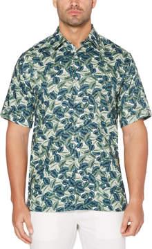 Cubavera 100% Linen Mini Leaf Print Shirt