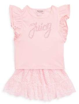 Juicy Couture Little Girl's Two-Piece Studded Top and Lace Skirt Set