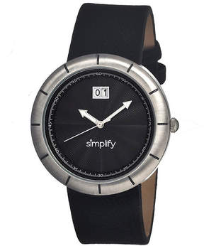 Simplify Mens The 1300 Black Dial Leather-Band Watch With Date Sim1302