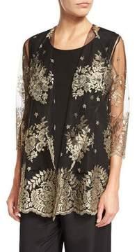 Caroline Rose Luxury Lace Jacket, Gold/Black, Petite