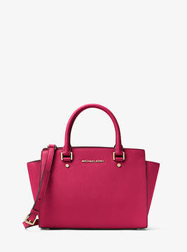 Michael Kors Selma Saffiano Leather Medium Satchel - RED - STYLE