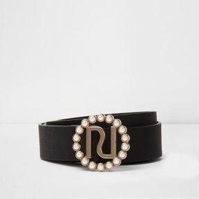 River Island Womens Black faux pearl buckle detail belt