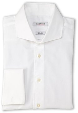Isaac Mizrahi White Pin Dot Slim Fit French Cuff Dress Shirt