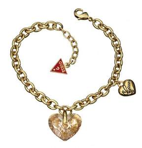 GUESS UBB11211 Gold Tone SS Bracelet With Crystal Heart Pendant