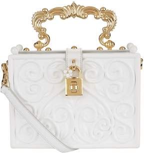 Dolce & Gabbana Baroque Padlock Top Handle Bag - WHITE - STYLE