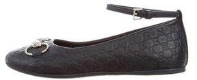 Gucci Girls' Horsebit Leather Flats