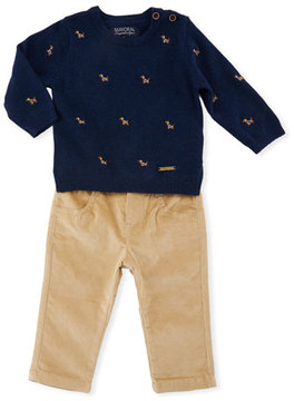 Mayoral Dog Embroidery Sweater w/ Pants, Size 6-36 Months