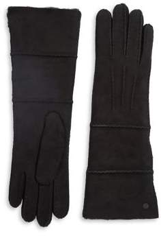 UGG Shearling-Trimmed Leather Gloves