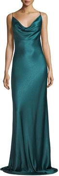 Black Halo Bessette Sleeveless Bias-Cut Satin Slip Evening Gown