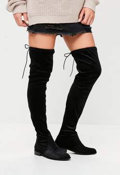 Missguided Black Velvet Over The Knee Boots