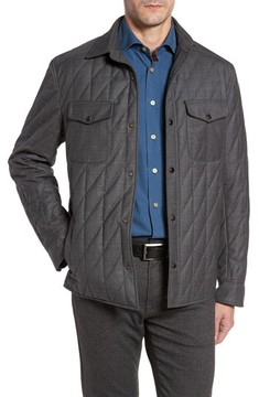 Luciano Barbera Men's Classic Fit Quilted Wool Blend Shirt Jacket