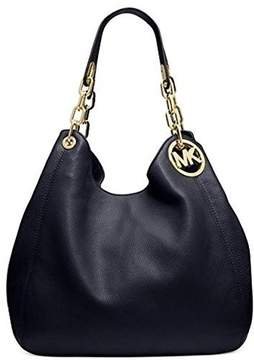 Michael Kors Women's Large Fulton Shoulder Tote Leather Top-Handle Bag Hobo - Black - BLACK - STYLE