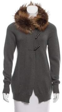 Brunello Cucinelli Fox Fur-Trimmed Cashmere Cardigan