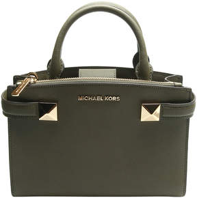Michael Kors Olive Karla Smew Leather Satchel - OLIVE - STYLE
