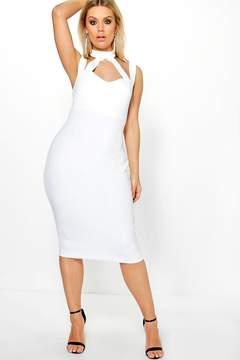 boohoo Plus Saskia High Neck Strappy Midi Bodycon Dress