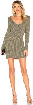 For Love & Lemons Sparkle Knit Metallic Long Sleeve Dress