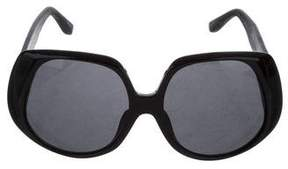 Linda Farrow The Row x Leather-Trimmed Oversize Sunglasses