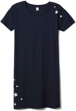 Alternative Apparel Straight Up T-Shirt Dress in Midnight Falling Stars, Small