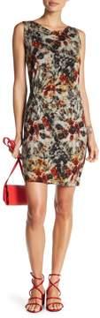 Desigual Sleeveless Side Ruched Print Dress