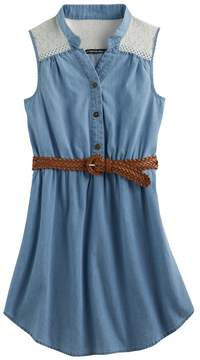 My Michelle Girls 7-16 Lace Yoke Chambray Shirtdress