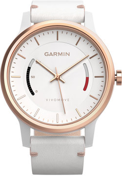 Garmin Unisex Vivomove Classic White Leather Strap Activity Tracking Smart Watch 42mm 010-01597-13