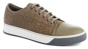 Lanvin Men's Embossed Nubuck Low Top Sneaker