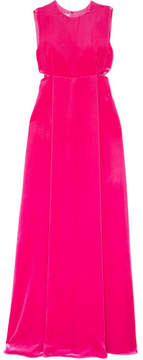 Valentino Donna Cutout Velvet Gown - Brick
